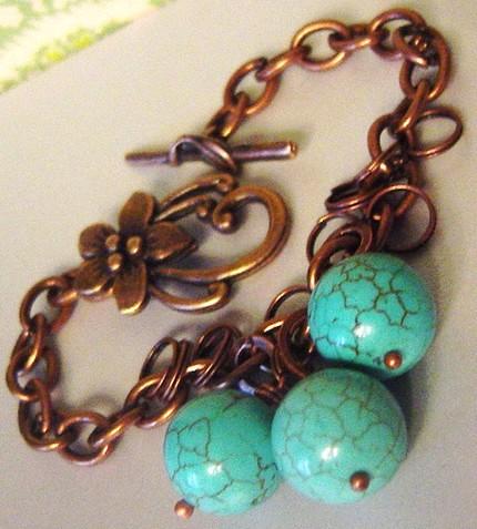 brass & turquoise bracelet