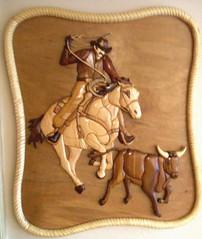 Calf Roper (vwatts45) Tags: wood art nature mural cowboy mosaic mosaics wallart western calf decor intarsia woodcraft marquetry inlay roper walldecor woodinlay