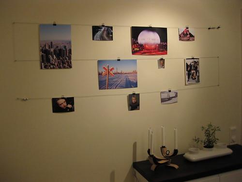 En fotovägg i köket