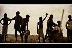 Silhouettes on the beach (jendayee) Tags: africa men beach youth football sand african soccer young silhouettes angola attitudes