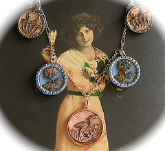 French Victorian vintage button necklace. (AlliesAdornments) Tags: pink flowers blue woman flower floral leaves birds metal lady vintage necklace basket crane recycled handmade antique buttons unique oneofakind ooak 19thcentury 1800s victorian picture jewelry bijoux jewellery chain gift boutique button present romantic heirloom accessories sterling brass artisan edwardian steampunk neovictorian bouton sterlingsilver antiqued adornments upcycled vintagejewelry antiquejewelry buttonjewelry buttonjewellery cccoe antiquebuttonjewelry steamteam vintagebuttonjewelry