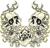 skull rose 1 estampa de camiseta