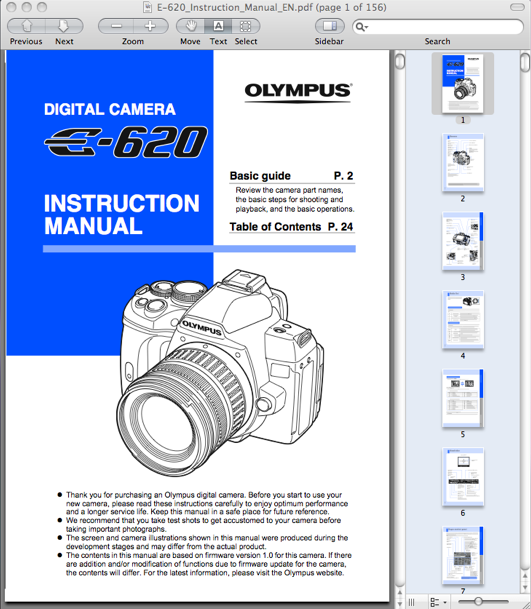 Olympus E-620 Digital Camera Instruction Manual