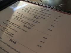 Nick's menu