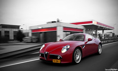 8C. (Denniske) Tags: red cars netherlands coffee digital canon rouge eos march spring movement ar belgium action nederland belgi optical sigma 15 roadtrip os cc coloring alfa romeo and mm dennis panning limited edition rood rosso 18200 15th 2009 supercar colouring selective bwcolor the noten 8c colorkey carspotting dreamcar stabilizer bwcolour stabilisation 3563 f3563 hypercar 40d cartocar denniske dennisnoten 150309