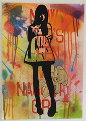 Now who's been a naughty girl? (id-iom) Tags: bear england urban london art girl naughty graffiti artist dress teddy tights vandalism spraypaint drips brixton idiom