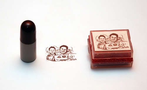 Couple wedding caricatures in Mitsubishi Lancer rubber stamp and refill 1