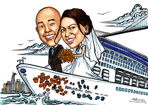 Wedding couple caricatures on Norwegian Gem A4