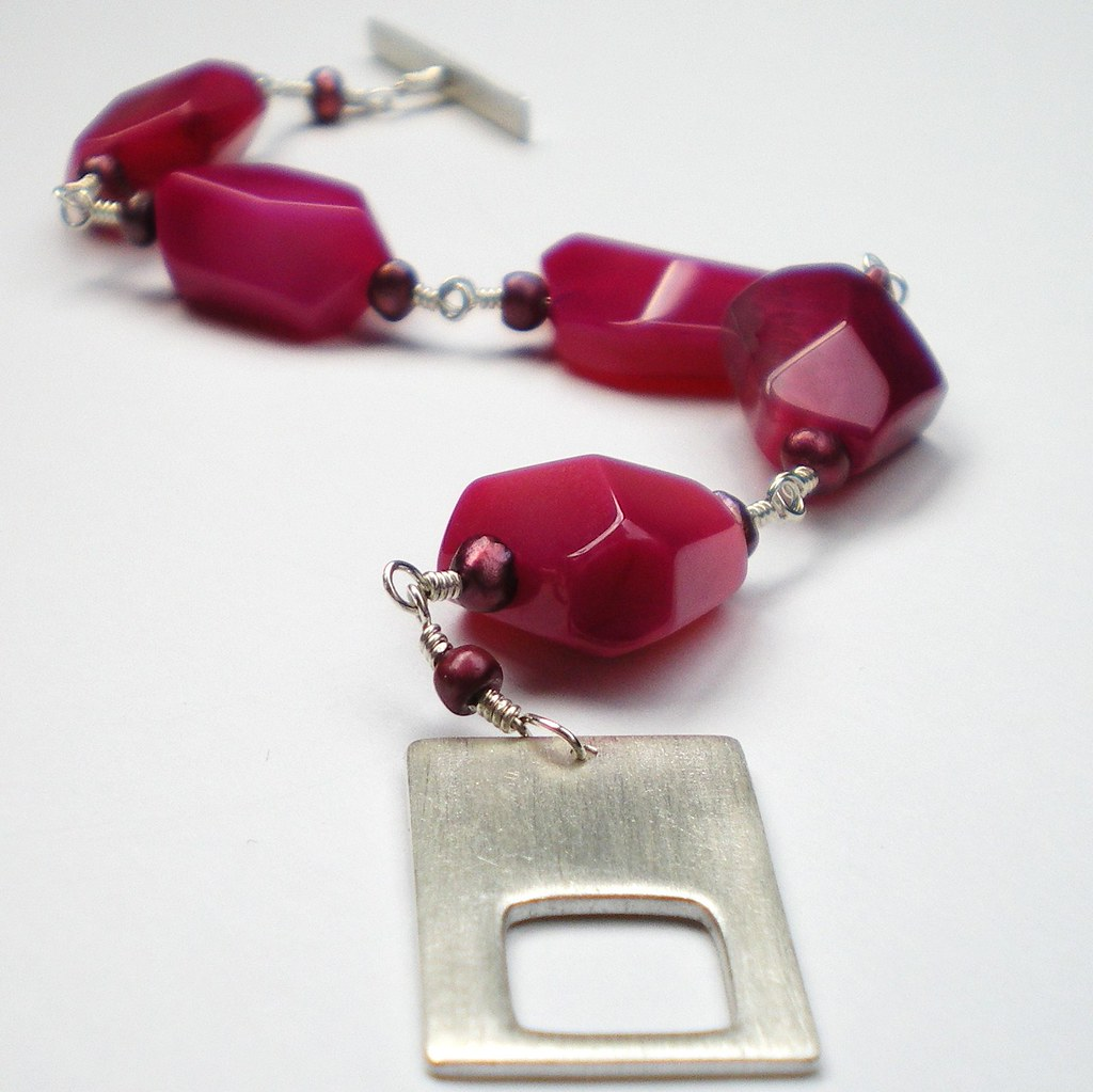 Pink Agate Bracelet with Silver Rectangle Toggle Clasp
