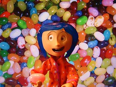 Jellybelly! (Evilbuttons) Tags: pink food film colors movie doll candy buttons bean button animation jelly jellybelly neilgaiman stopmotion coraline stopmotionanimation henryselick coralinemovie coralinedoll coralinefilm happycoralinedoll coralinemoviedoll jellybellybean