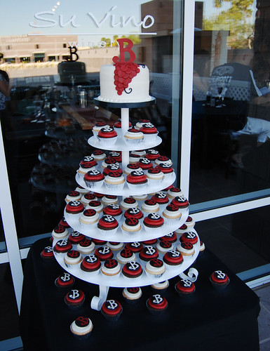 Merlot Ivory and Black Monogram Wedding Cupcake Tower