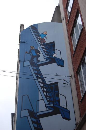 Tintín en una fachada de Bruselas