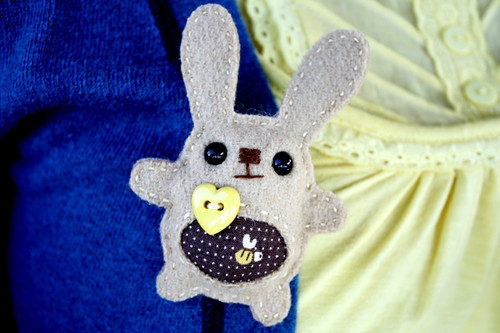 Wore my bunny loves bee brooch :)