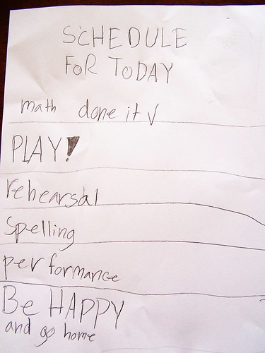 a child's to do list