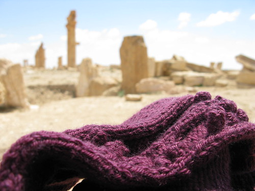 knitting with ruins in background - landscape