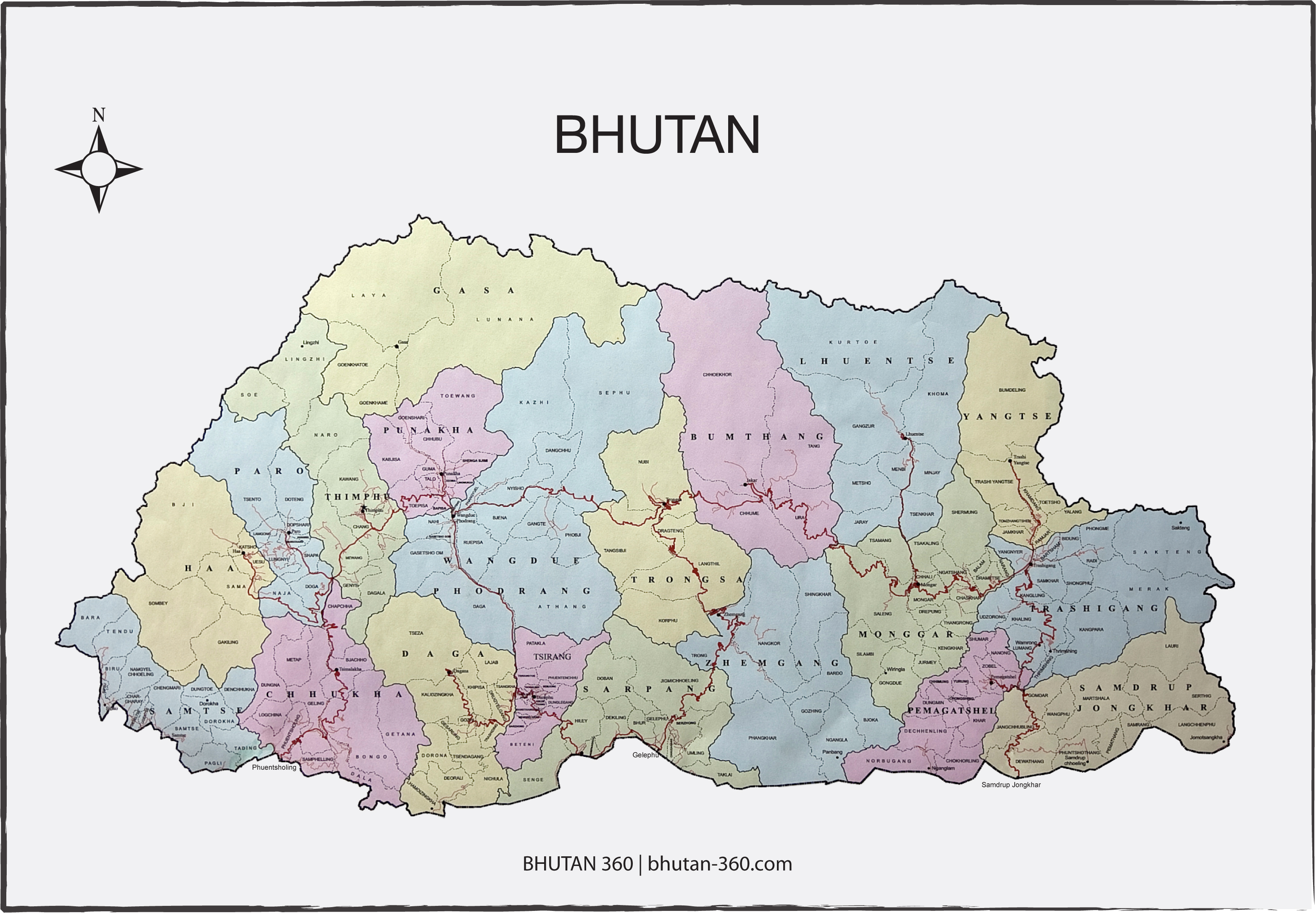 Bhutan Map - Free Download - Bhutan-360