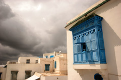 Stormy Sidi Bou Said, Tunisia, North Africa (curreyuk) Tags: blue windows white storm color colour village northafrica tunisia sidibousaid shutters 1001nights tunisie paulklee currey otw supershot totalphoto cafedesnattes aplusphoto flickraward overtheexcellence grahamcurrey curreyuk peachofashot louismoillet