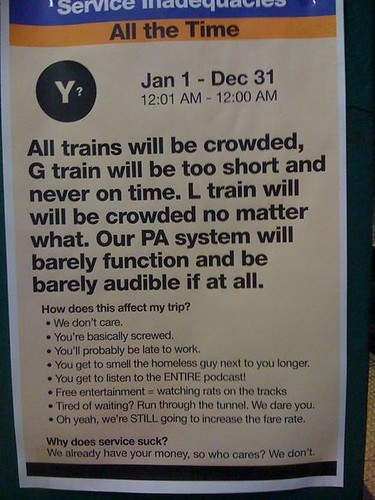 Fake NYC subway notice from Gothamist
