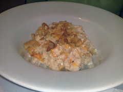 Pumpkin & toasted pine nut risotto with crispy parsnips at Rick's, Edinburgh