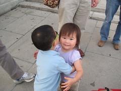 Owen giving Emma a hug
