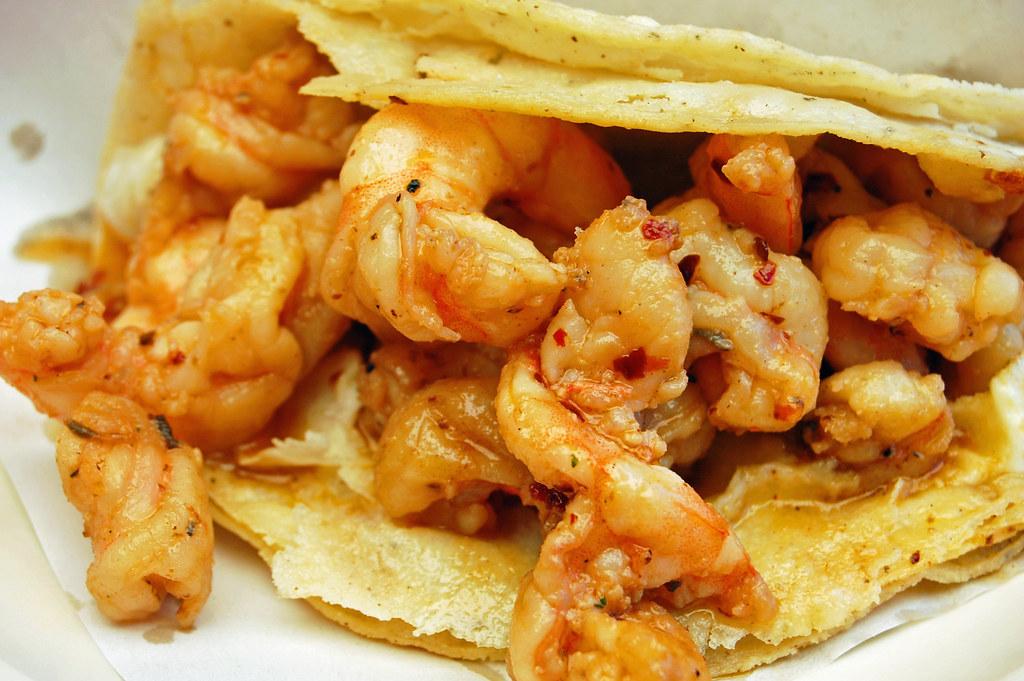 Tacos El Mazateno Tijuana - Camarones Enchilado (Spicy Shrimp Tacos)