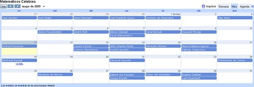 Calendario Matemáticos Célebres