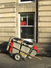 Captain Picard on the Royal Mile (byronv2) Tags: street startrek window scotland edinburgh bin royalmile sciencefiction captainpicard oldtown waytowork streetsweeper patrickstewart citychambers