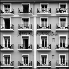 1 on 16 (Frederic-JG) Tags: people urban man france southwest building window architecture facade digital hotel florida balcony buildingdetail mai commercial 2009 biarritz graphique artcafe urbanview bwpicture hotelflorida fredericjg fredericblanque wwwfredericjgcom