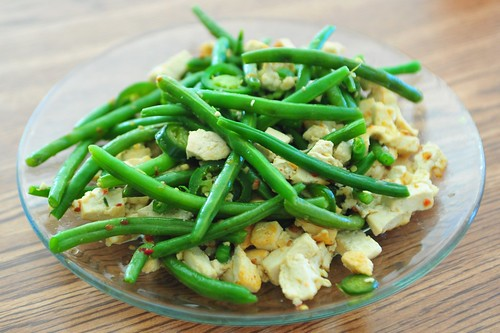 Spicy tofu with green beans