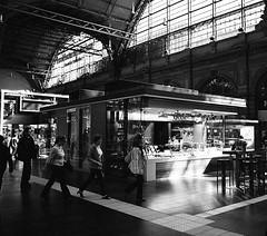 Frankfurt Hauptbahnhof (kgebinger) Tags: blackandwhite bw analog canon nikon fuji frankfurt 1600 hauptbahnhof neopan a1 analogue canona1 coolscan fujineopan1600 coolscanv schwarzweis emofin fd2828