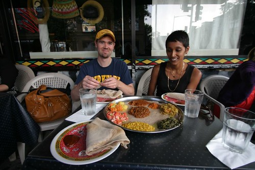 At the Lalibela Ethipian Restaurant with Mike and Trina...