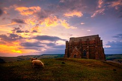 The sun sets on St Catherine's Chapel (Terry Yarrow) Tags: sunset church landscape sheep chapel dorset pastoral abbotsbury stcatherineschapel dorsetcoastpath