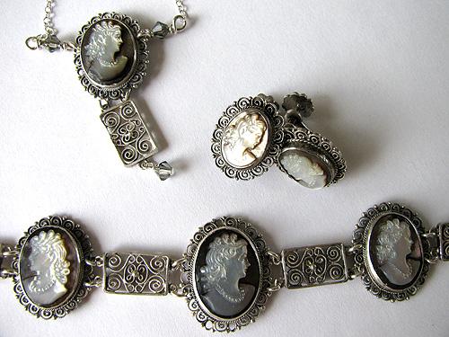Repaired/Restored Bracelet (Shortened), Restored Earrings, New Necklace
