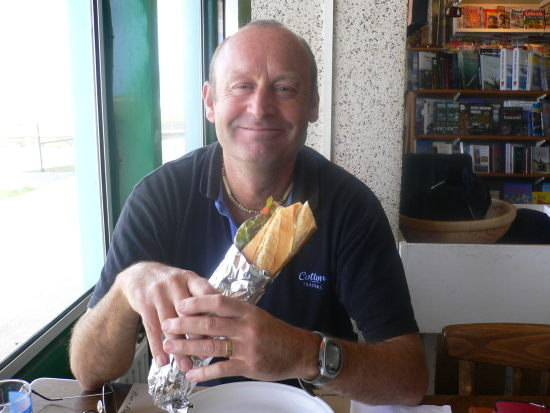 The tastiest baguette sandwich clearly being enjoyed by Dave
