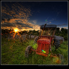 Tractor Beams (Dave the Haligonian) Tags: sunset canada barn rural evening coast novascotia dusk farm country noel atlantic east explore maritime lensflare rays hay halifax frontpage hdr sunbeams unrealistic copyrightallrightsreserved davidsaunders kennetcook tractorbeams davethehaligonian dsc086453