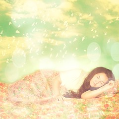 20/52 Dreamer ({AndreaRenee}) Tags: flowers sleeping portrait sky brown white texture me birds clouds self myself fun artistic bokeh andrea creative longhair smith dreaming curly blanket dreamy dreamer andi flowerfield week20 project52 homersbeautyofwoman