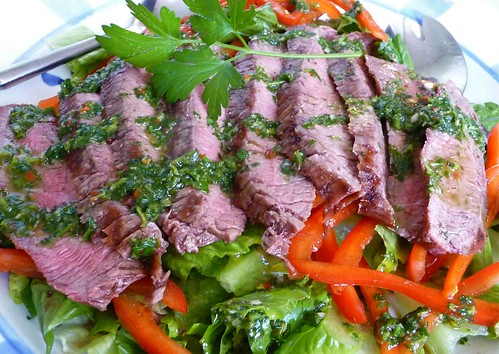Grilled Flank Steak Salad with Chimichurri Dressing Recipe - Cookin ...