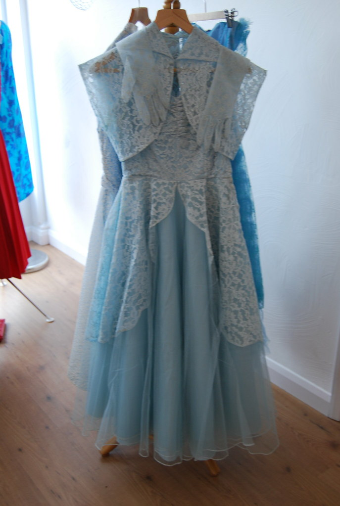 50s wedding dress with matching lace shrug and gloves