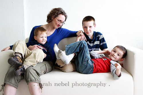 . mom and her boys .