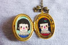 Love Together - Vintage Locket (Minifanfan Illustration) Tags: wedding portrait love beautiful illustration necklace couple jewelry glossy bow romantic oval locket