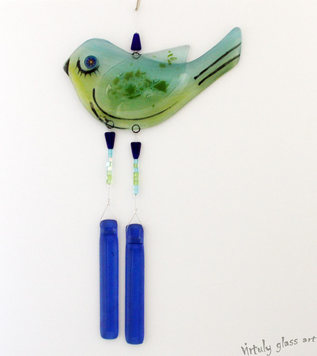 fused glass bird Suncatcher Wind Chimes Mobile by virtuly art in glass