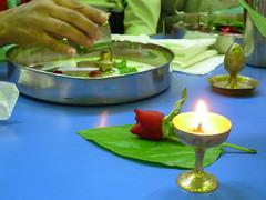 Shivratri Pooja by Hindu Religion Study Group  2009 (KiranParmar) Tags: light lamp rose milk leaf hands pan divo shivling shivratri