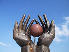 Workers Movement Memorial (cheesemonster) Tags: sculpture statue ball globe hands hungary fingers budapest rusty communist communism rusted soviet round era handheld vs capitalism russian magyar ungarn buda touristattraction hungria szoborpark versus statuepark reminders magyarorszag vrs dictatorship magyarorszg hungra bighands hongrie ungary bygone historypark hugehands offthebeatentrack magyarkztrsasg fingersandthumbs 22nddistrict worldinyourhands mementopark magyarkoztarsasag balatonit szabadkaiutca ghostsofcommunistdictatorship communistmementos communismpark lpsculptures wholeworldinhishands