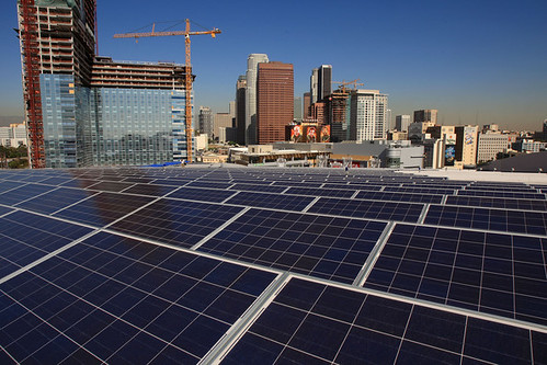 Solar panels atop LAs Staples Center