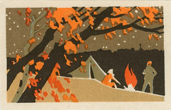 russian matchbox label (maraid) Tags: camping autumn camp night outdoors fire countryside russia label tent packaging russian matchbox
