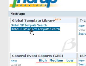 Screenshot showing 'Global Template Library'section on Firstpage
