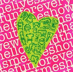 fun for everyone (♥ Wee Rainbow Girl ♥ Nay Paul ♥) Tags: pink verde green photoshop heart rosa illustrator creatures corazon monstruos criaturas cs3