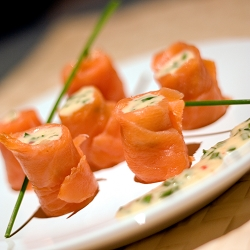 Smoked Salmon Rolls with Spicy Chives