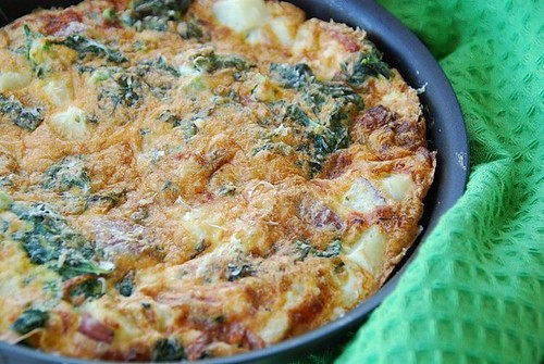 Swiss chard, potato, and parmesan frittata