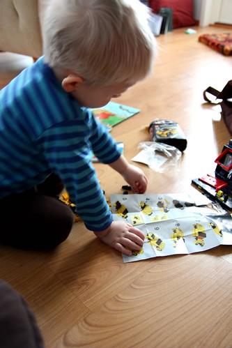Niilo playing with legos